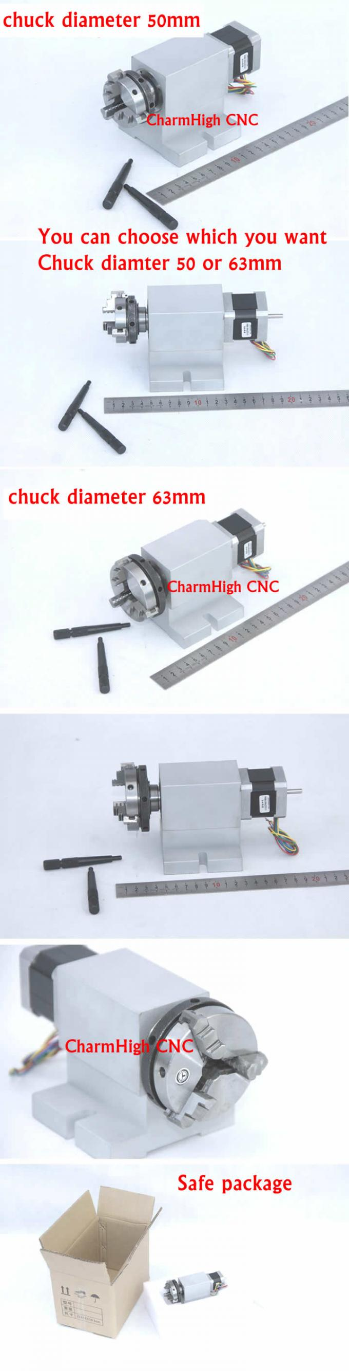K01-63mm 3 jaw Chuck CNC 4th Axis with Harmonic reducer CNC Dividing Head