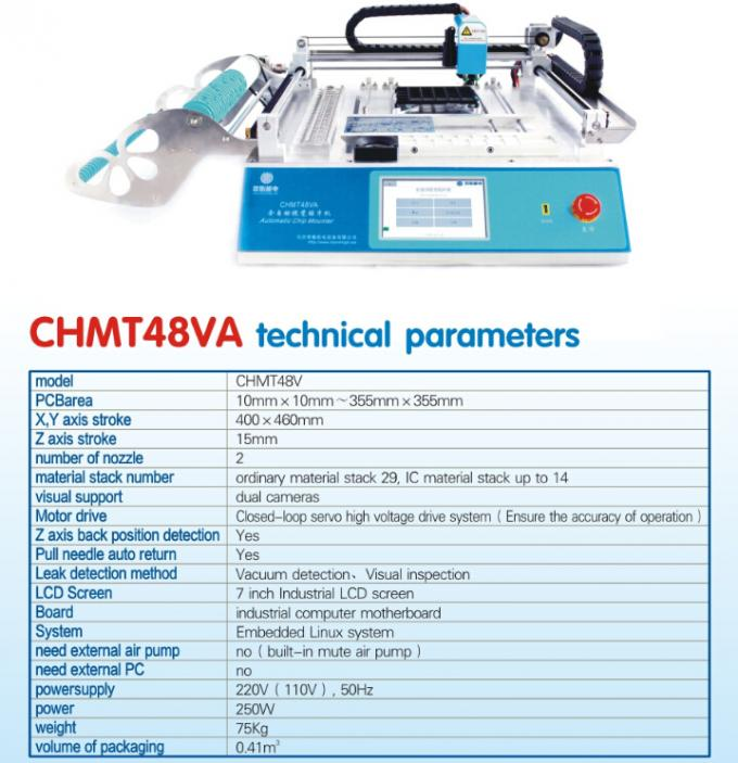 Classic Model Charmhigh CHMT48VA Benchtop SMT LED Pick & Place Machine 2 vision cameras , PC in-build