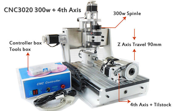 China 4 Axis Z Axis Travel 90mm Mini 30*20mm CNC Router Drilling Milling Machine 3D CNC Router supplier