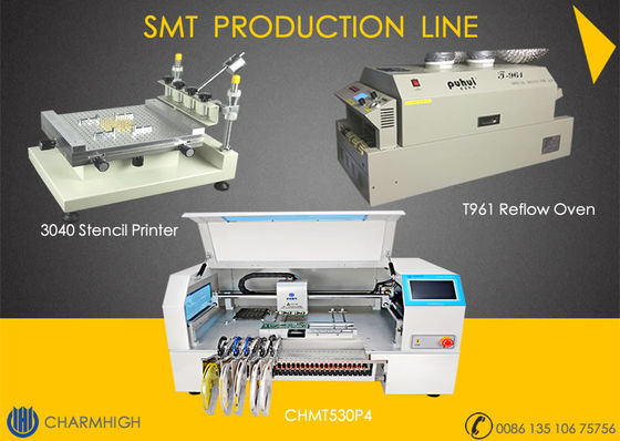 China Advanced SMT production Line, 4 heads pick and place machine CHMT530P4 , 3040 Printer, T961 Reflow oven supplier